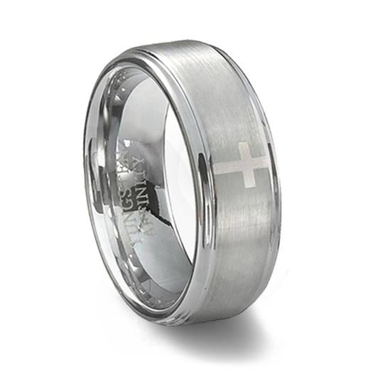 Brushed Tungsten Carbide Cross Wedding Band Mens Cross Ring