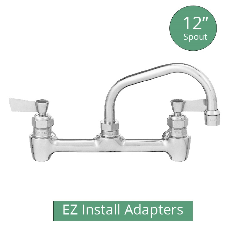fisher brass 12 swing spount backsplash mount faucet with 8 centers and e z install adapters 64769