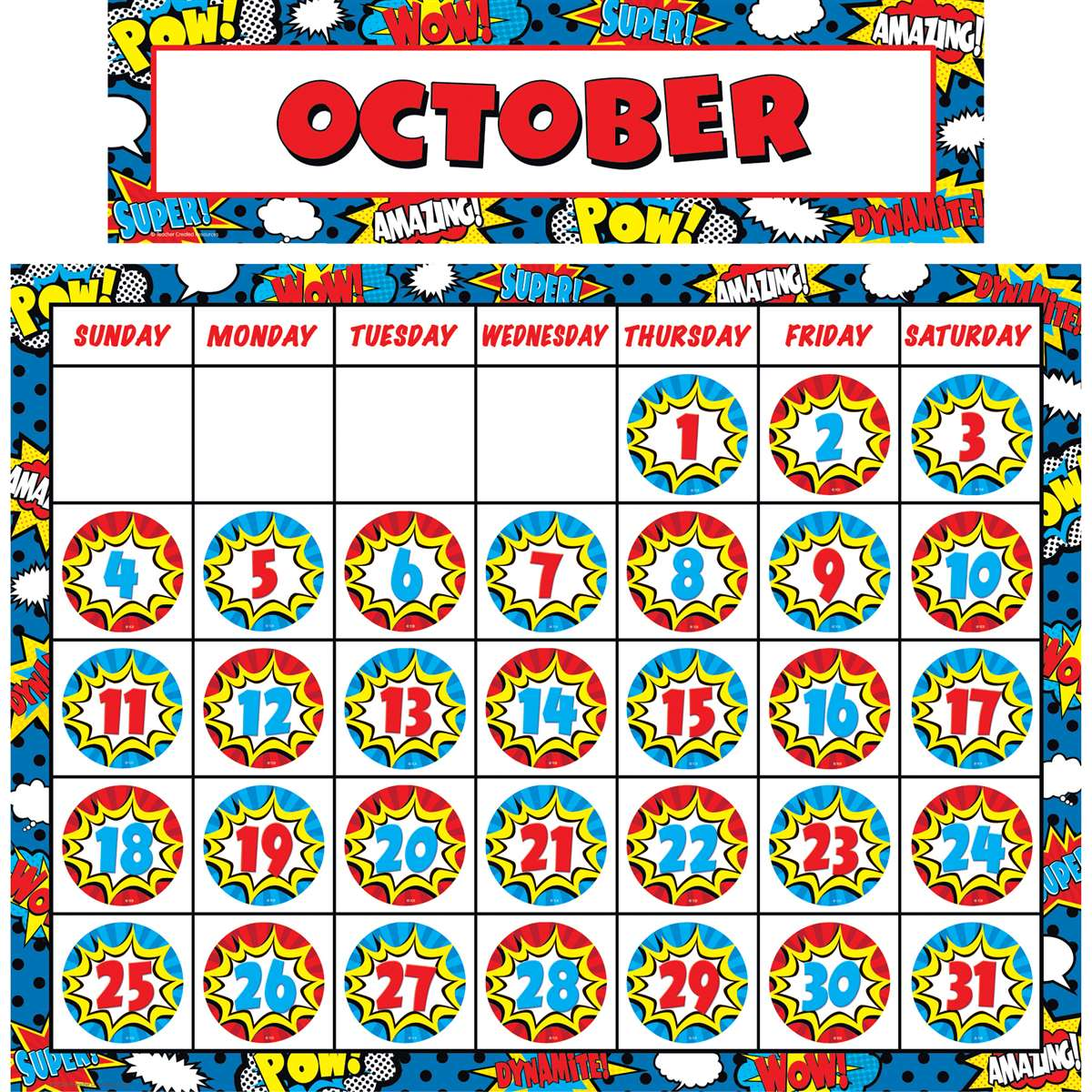 Superhero Calendar Set Tcr Teacher Created Resources