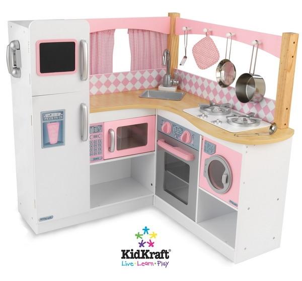 pink wooden toy kitchen accessories - kitchen design