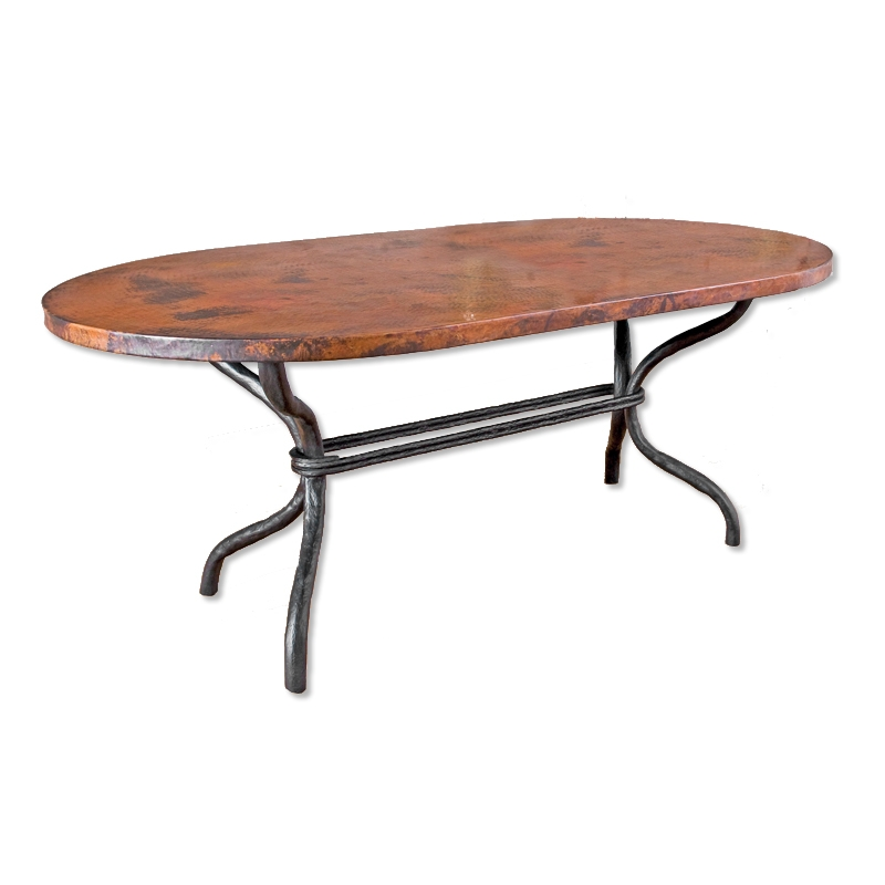 woodland dining table with 42 x 72 oval copper top