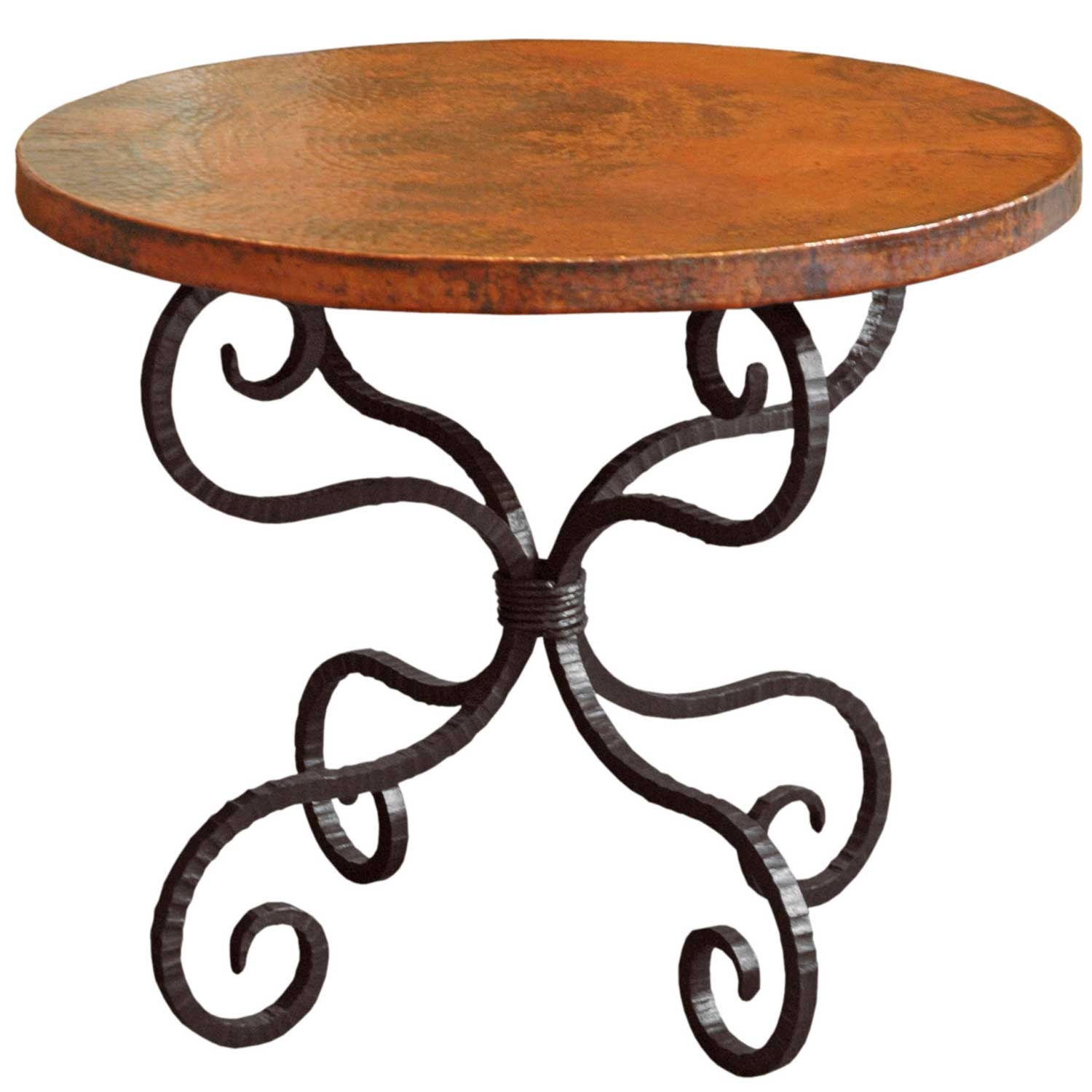 Alexander Wrought Iron End Table With 30in Round Top Timeless Wrought Iron