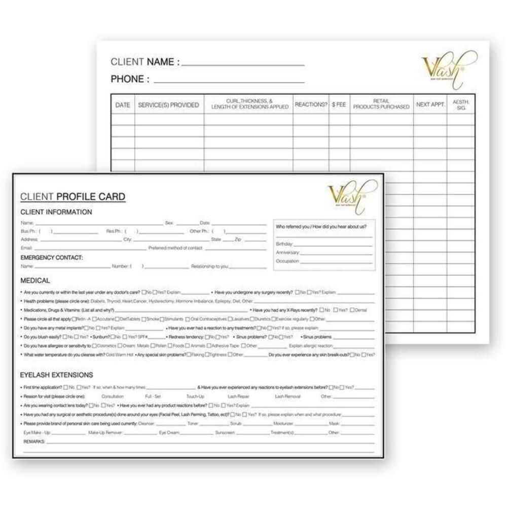 Vlash Client Profile Cards 50 Pack