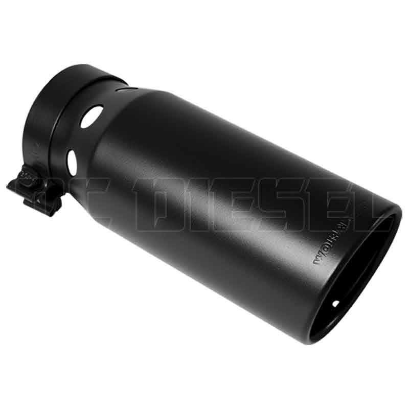 magnaflow 35220 6 black clamp on round single wall intercooled rolled edge angle cut exhaust tip