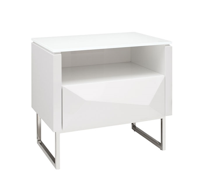 chiesa modern side table in white lacquer sold out