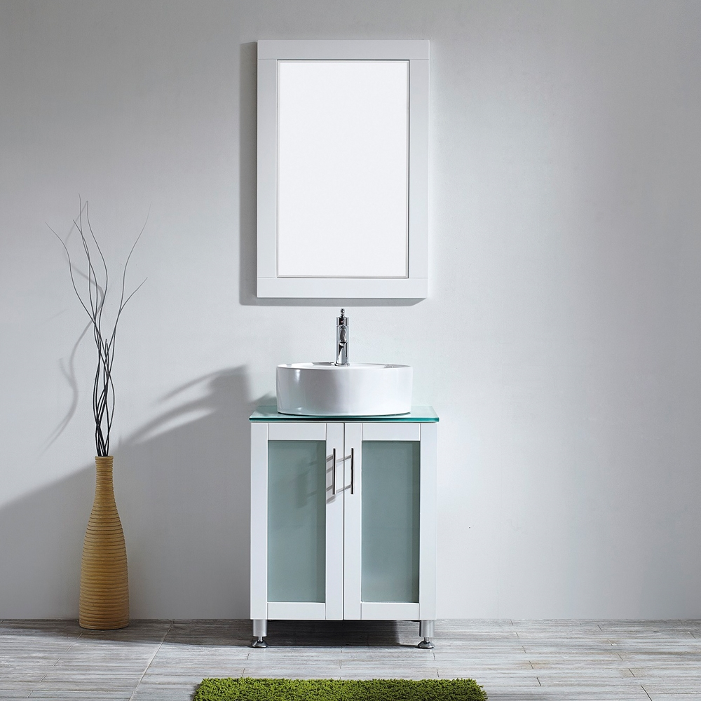 vinnova tuscany 24 inch vanity in white with glass countertop with white vessel sink with mirror