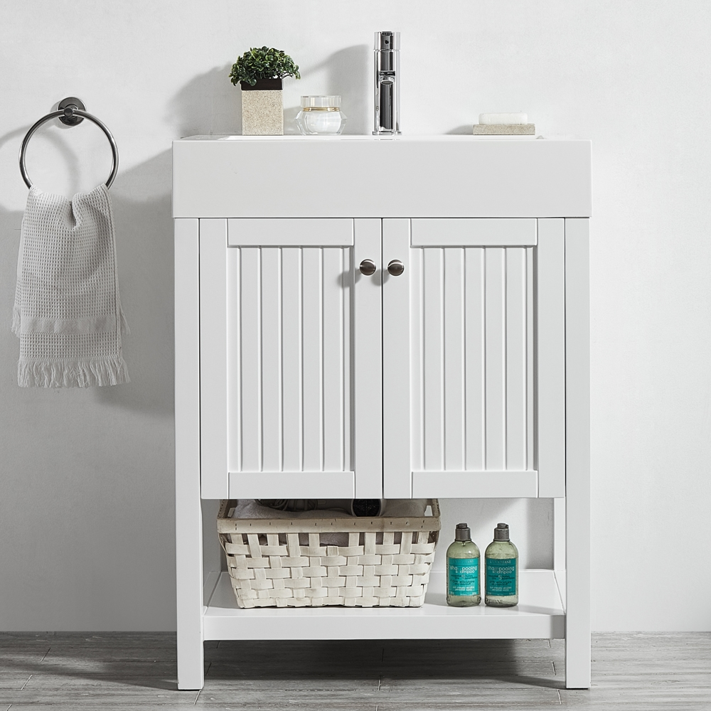 vinnova pavia 28 inch single vanity in white with acrylic under mount sink without mirror