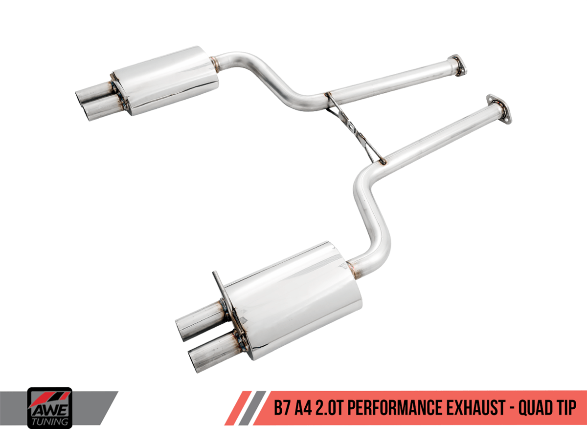 awe tuning b7 a4 2 0t quattro dual exit dual tip performance exhaust no downpipe for tiptronic cars