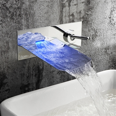 leo bathroom wall mount sink faucet led color changable waterfall brass chrome us