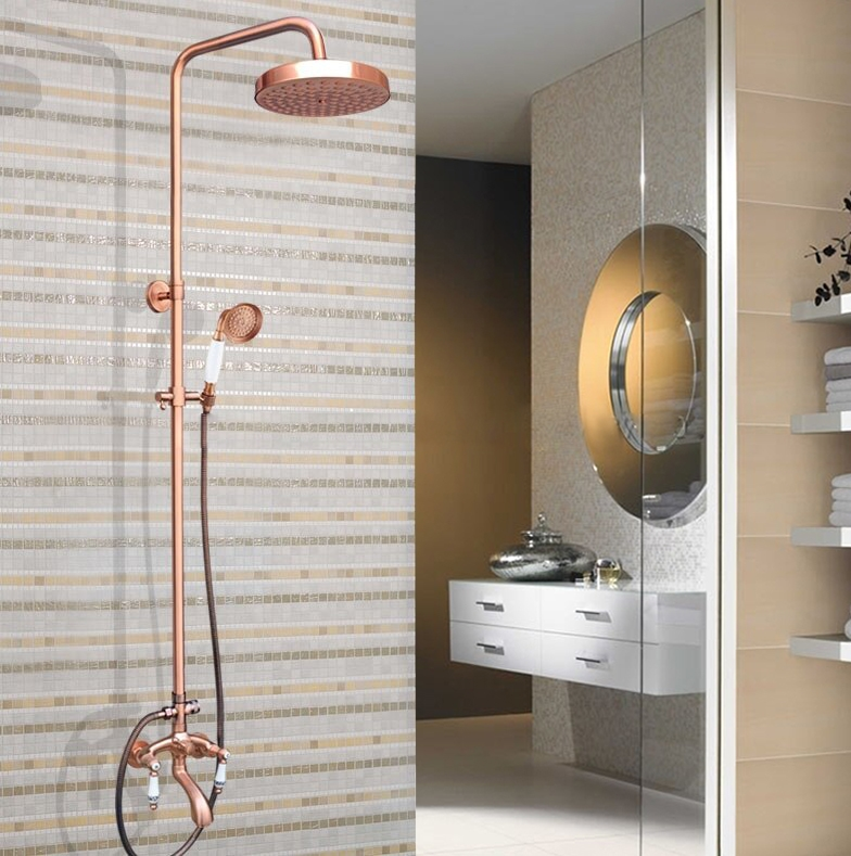 wall mount bathroom tub faucet shower head with hand sprayer in rose gold