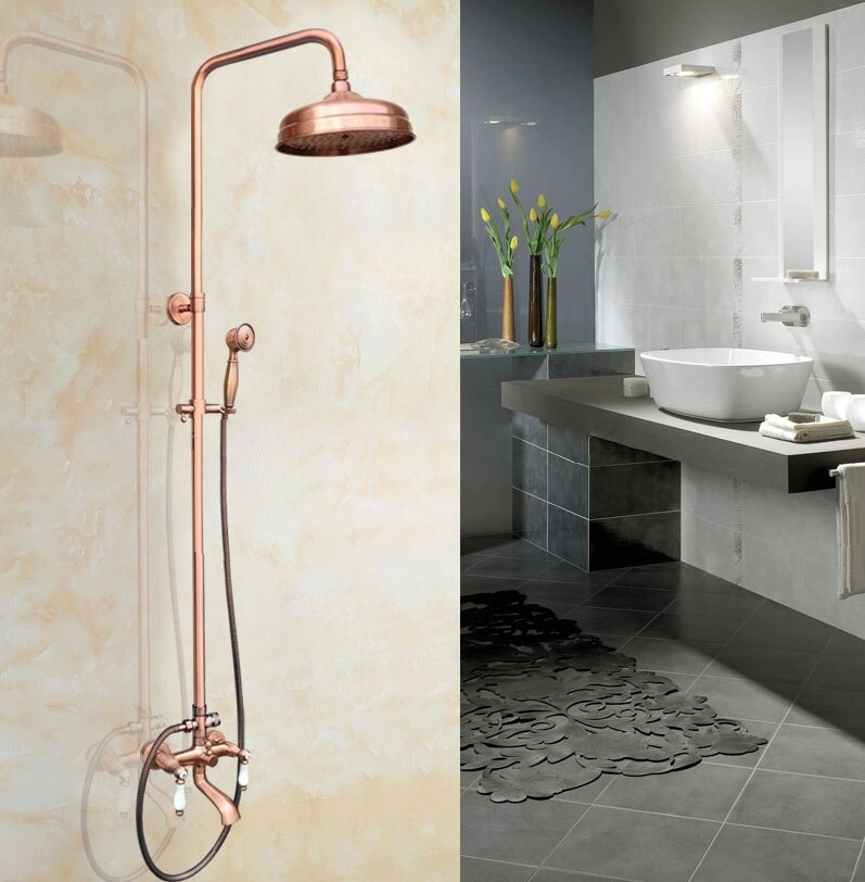 wall mounted 8 vintage rose gold shower set faucet dual handle with hand sprayer bathroom shower mixer