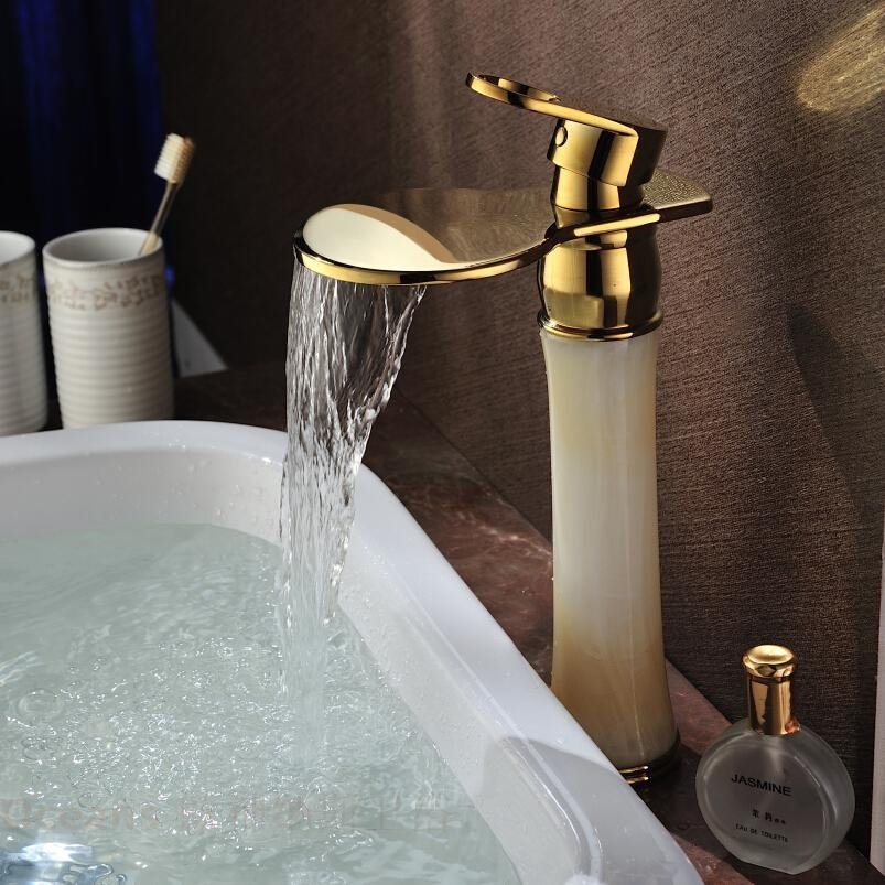 gold polished waterfall bathroom sink faucet mixer tap retro style