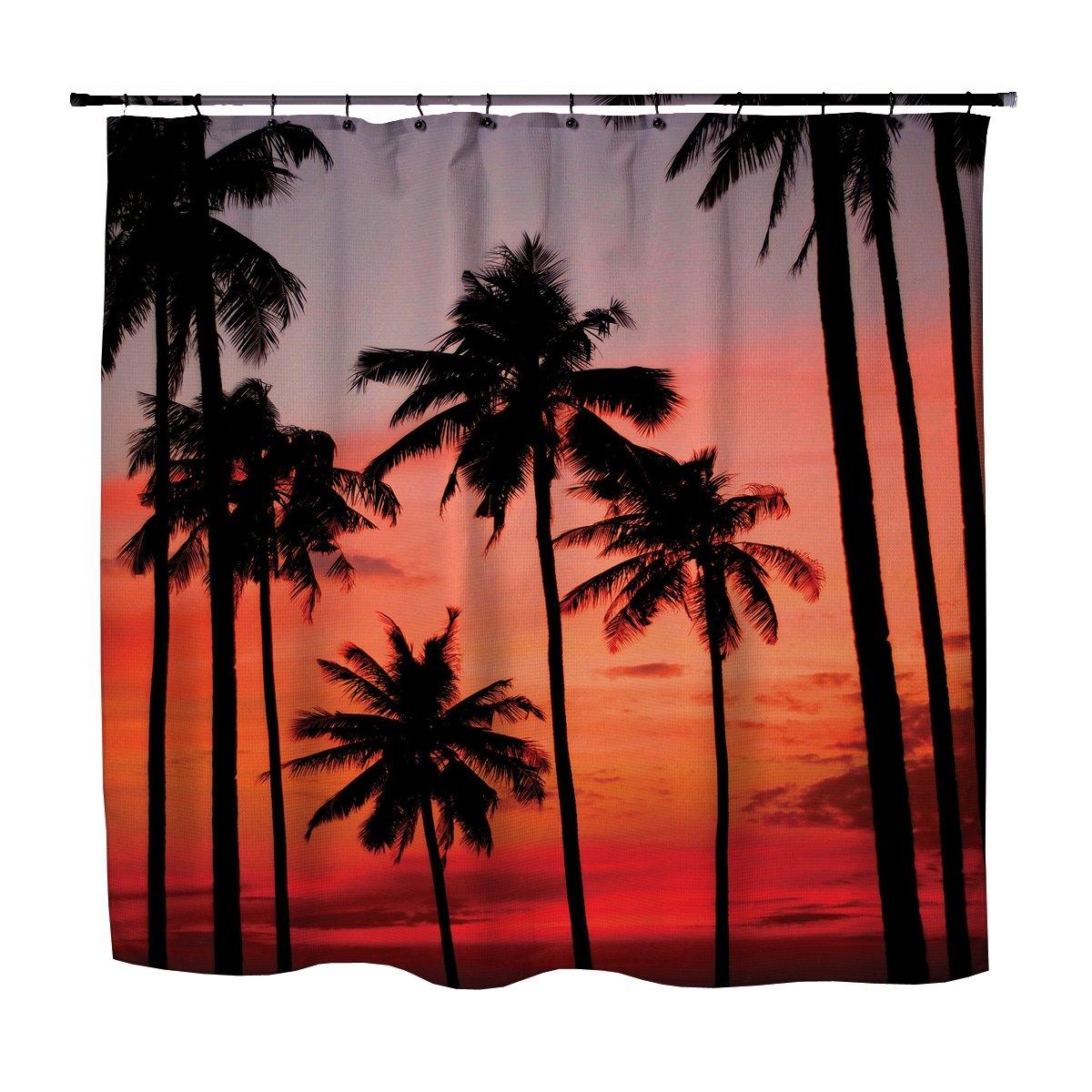 hawiian palm tree sunset shower curtain