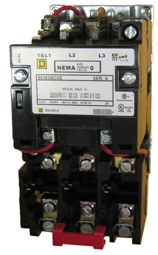 Square D 8536SBO2S Size 0 NEMA rated starter with a melting alloy thermal overload relay