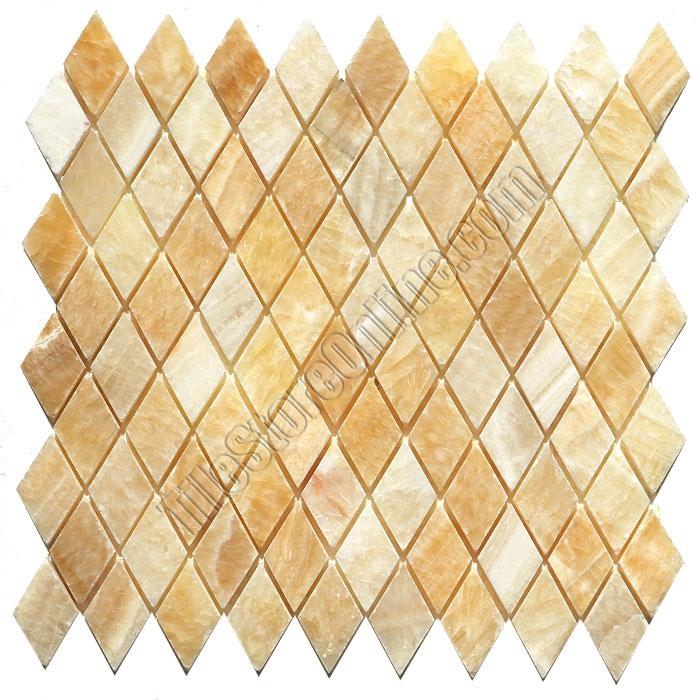 onyx rhomboid mosaic tile honey onyx diamond mosaic polished