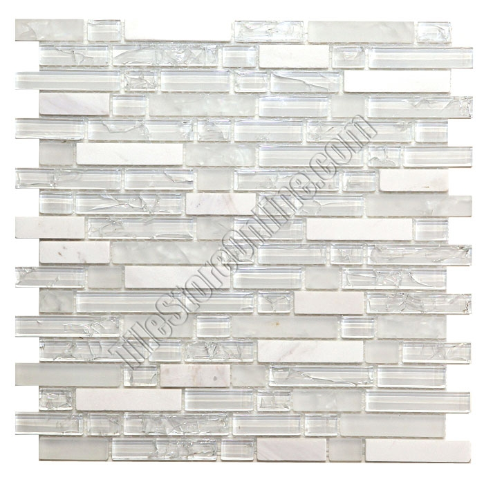 crackle glass tile and tumbled marble linear mosaic 5 8 x linear strips sticks of crackled glossy and frosted glass and marble mosaic gml301 ice