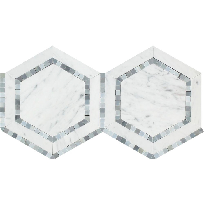 carrara white marble hexagon mosaic tile combination with blue gray bardiglio polished