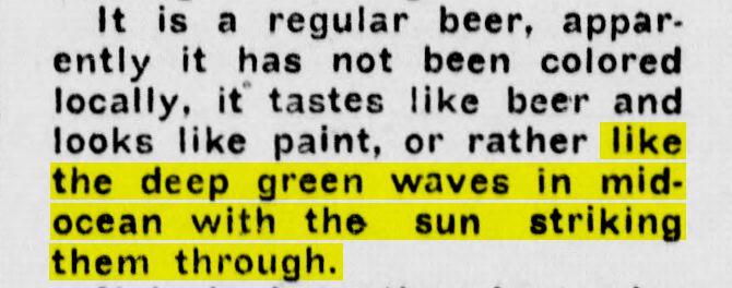 Green beer in the Spokane Press.