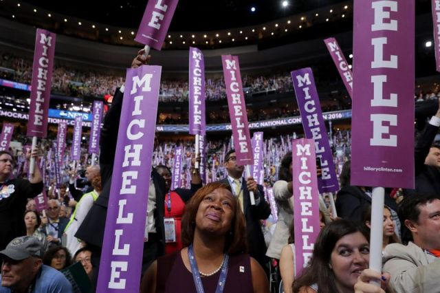 The DNC crowd watches as Michelle Obama speaks