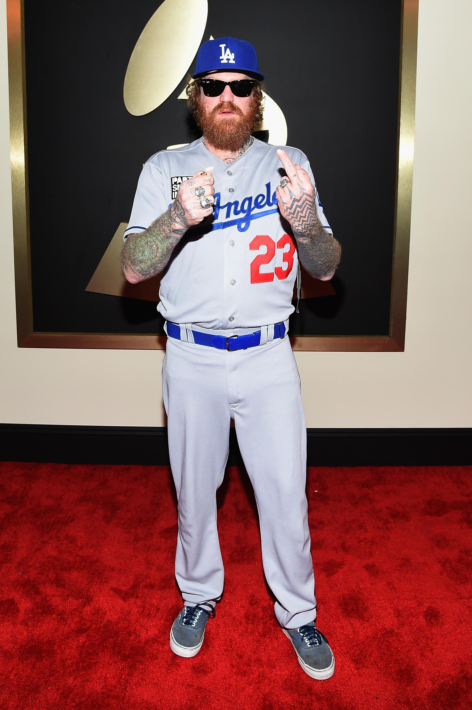 Brett Hinds Of Mastodon Wears Dodgers Uniform To Grammy Awards