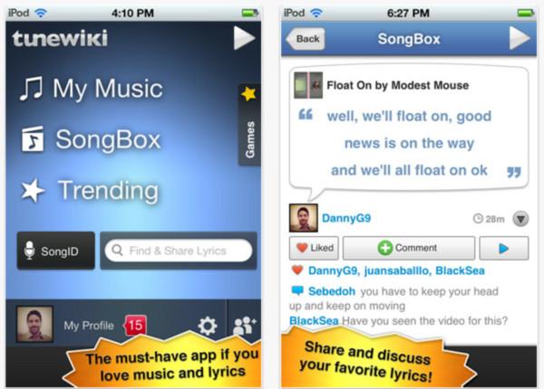 tunewiki iphone Recopilación de aplicaciones para escuchar música en iOS