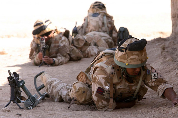 Members of the Gurkha Engineers on a training exercise searching for improvised explosive devices (IEDs) at Camp Bastion in Afghanistan.
