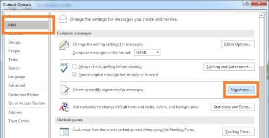 Окно подписи - Outlook 2016 - Настройки - Кнопка подписи - Windows Wally
