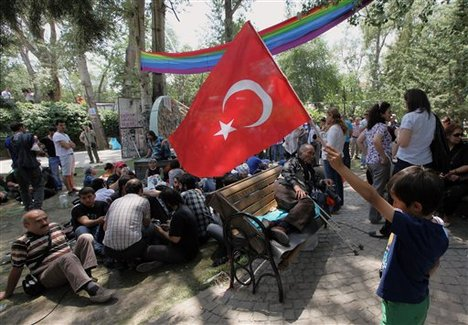 A Turkish boy waves a national flag in support of Turkish protesters who were sitting in Kugulu Park in Ankara, Turkey, Wednesday, June 12, 2013.