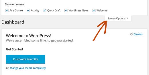 Hiển thị hoặc ẩn các phần trên màn hình bảng điều khiển WordPress
