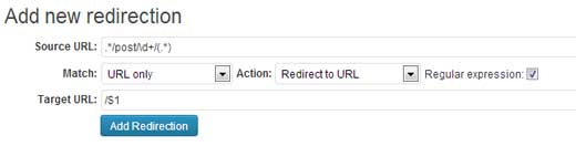 Redirections Plugin: Tumblr Settings