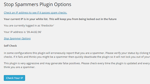 Stop spammers plugin settings
