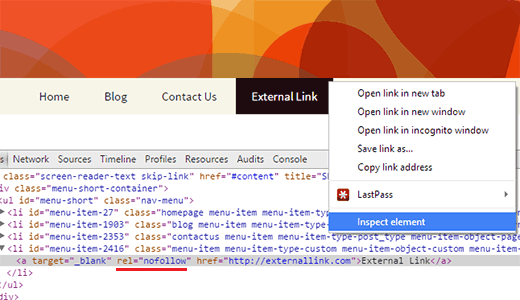 An external link with nofollow attribute in WordPress navigation menu