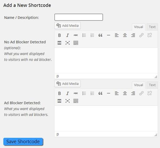 AdBlock Detector WordPress Edit Shortcode Page