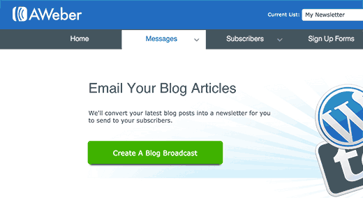 Create a blog broadcast