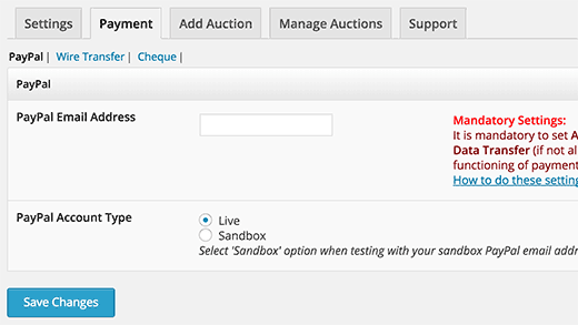 PayPal Settings in Ultimate Auction plugin for WordPress