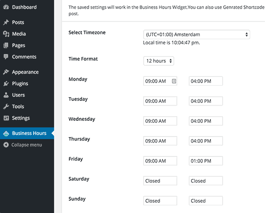 Business Hours settings page