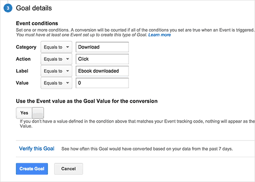 Entering event conditions for custom goal in Google Analytics