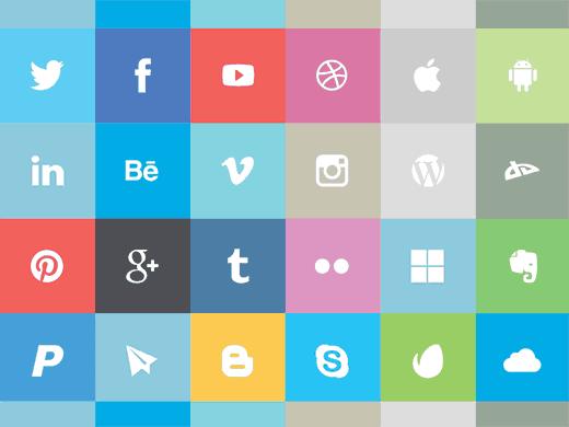 24 Flat Social Icons Set