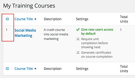 Finding course ID