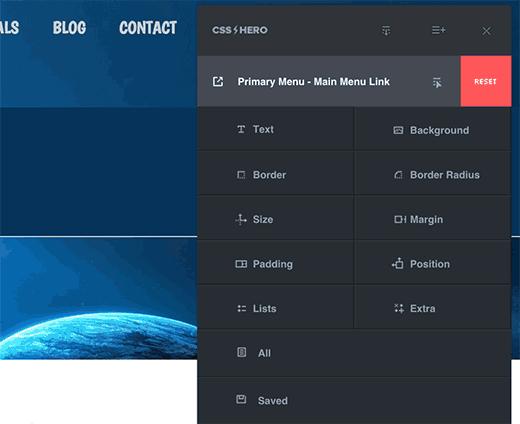 Editing custom CSS with CSS Hero plugin for WordPress