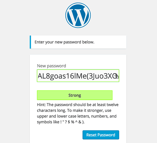 New password reset screen in the upcoming WordPress 4.3