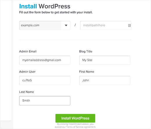 WordPress installation settings in QuickInstall