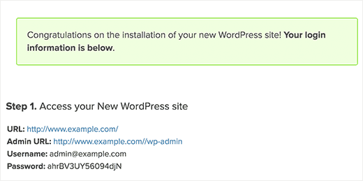 WordPress login credentials after finishing installation using MOJO Marketplace