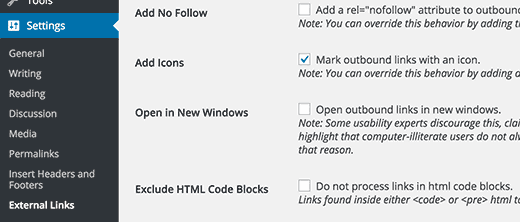 Add icon to external links
