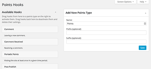 Add a new points type