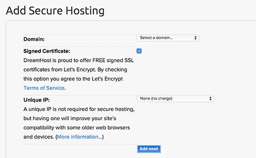 Adding secure hosting