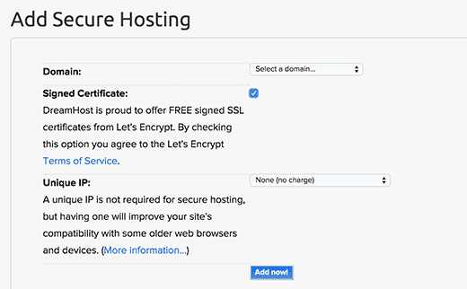 Adding secure hosting