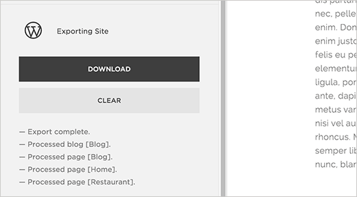 Download Squarespace export file