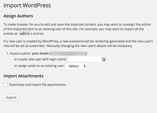 SquareSpace to WordPress import settings