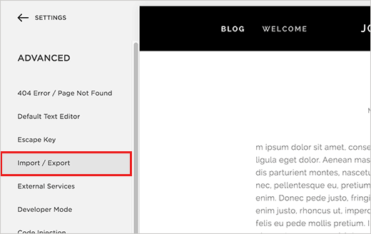 Import/Export menu in Squarespace